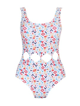 Geometric Print Hollow One Piece Bathing Suit