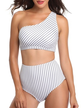 Stripe Asymmetric Sexy Tankini Set