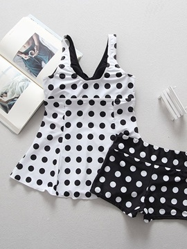 Black White Polka Dots Tankini Set