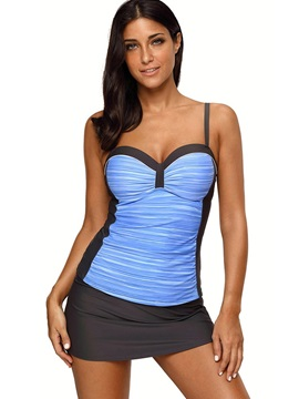 Plus Size Pleated Color Block Tankini Set