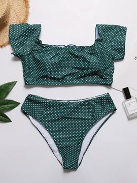 Polka Dots Print High Leg Bikini Set