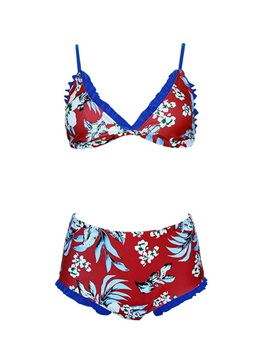 Floral Print Pleated Tankini Set