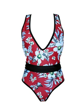 Sexy Floral Print One Piece Bathing Suit