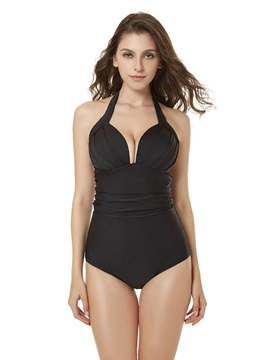 One Piece Plain Pleated Sexy Swimwear