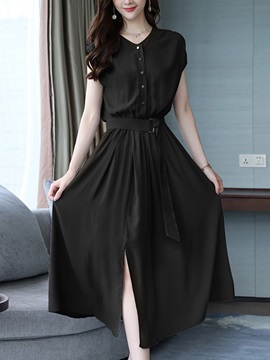 Button Cap Sleeve V Neck Button Summer Women's A-Line Dress