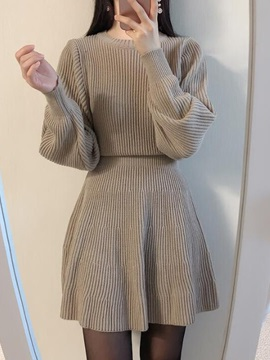 Round Neck Long Sleeve Above Knee Plain Women's A-Line Dress