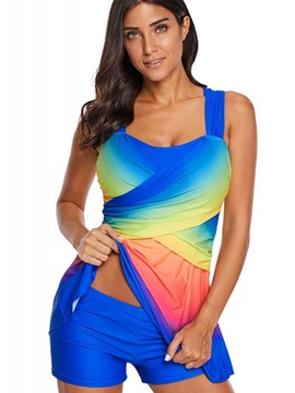 Plus Size Gradient Tankini Set Swimwear