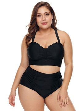 Plus Size Black Plain Lace-Up Tankini Set Swimwear