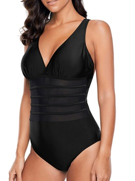 Plain Hollow One Piece Sexy Swimwear