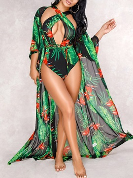 2 Pieces Sexy Floral Print One Piece Swimwear