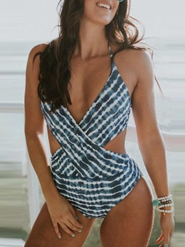 One Piece Beach Look Stripe Swimwear