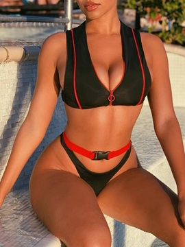 Sexy Color Block Zipper Bikini Set