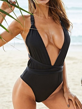 Black Plain One Piece Sexy Swimwear