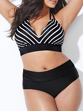 Plus Size Color Block Lace-Up Sexy Bikini Set