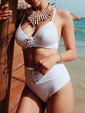 Lace-Up Plain Sexy White Bikini Set
