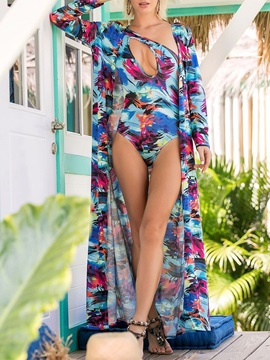 2-Pieces Sexy Floral Print One Piece Swimwear