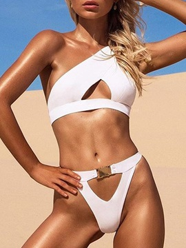 Sexy Plain Asymmetric Bikini Set