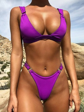 Plain Sexy High Leg Bikini Set