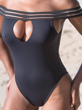 Off Shoulder One Piece Sexy Plain Swimwear