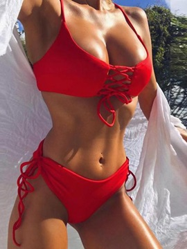 Plain Lace-Up Sexy Bikini Set