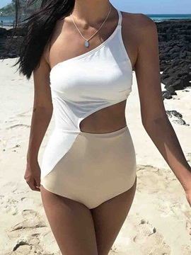 Asymmetric One Piece Sexy Color Block Swimwear