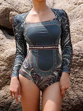 One Piece Print Color Block Swimwear