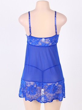 Bowknot Lace Sexy Plus Size Nightgown