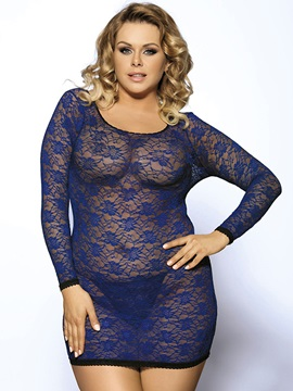 Hollow Long Sleeve Backless Dark Blue Plus Size Babydoll