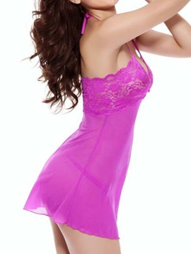 Purple Spaghetti Halter Stretch Lace Babydoll