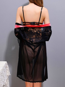 Sexy Black Lace Robe with Bra Set