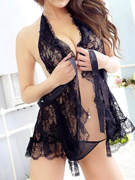 Sexy Lace Halter Backless Babydoll with Thongs