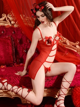 Red Mesh Cupless Babydoll and G-String