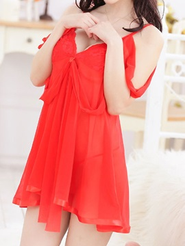 Solid Color Spaghetti Strap Bowknot Babydoll