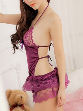 Halter Falbala Backless Babydoll
