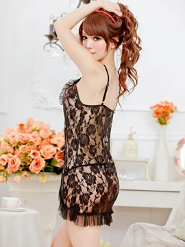 Solid Color Falbala Lace Babydoll