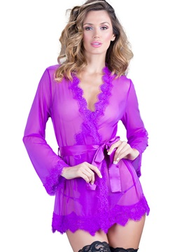 Solid Color Lace-Up Long Sleeve Babydoll