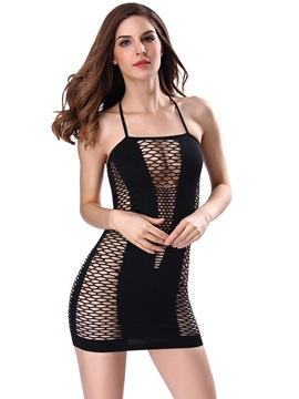 Hollow Stripe Halter Sexy Babydoll