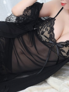 Sexy 3pcs Lingerie Robe Sheer Kimono Night Gown with G-string