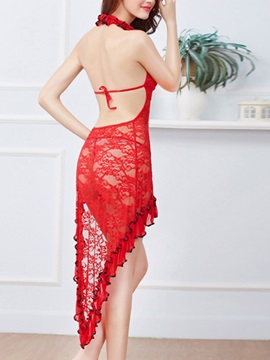 Floral Halter Backless See Through Nightgown Babydoll