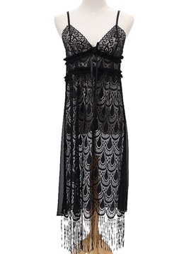 See-Through Tassel Backless Sleeveless Nightgown