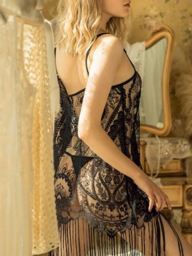 Backless Hollow Plain Lace Nightgown Babydoll