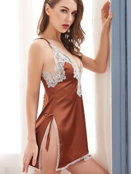Women's Nightgown Bowknot Color Block Slit Up Sleeveless Babydoll