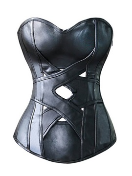 Black Lace-up/Front Hollow PU Corset
