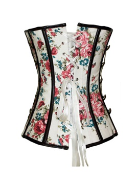 Floral Pattern Lace-Up/Front Side Buckle Corset