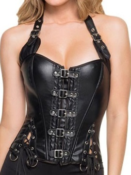 Halter Lace-Up/Front Buckle Corset