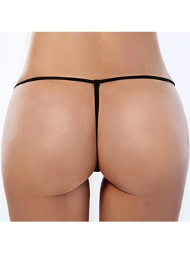 High Quality See-through Beautiful Black Solid Women Thong