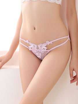 Floral Hollow Solid Women Thong