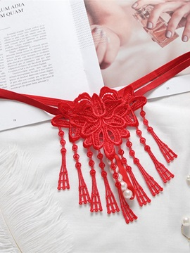 Sexy Pearl Massage Flower Knitting Tassel Perspective Thong