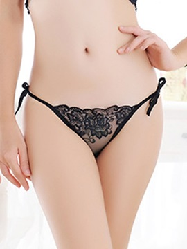 Embroidery See-Through Lace-Up Thong