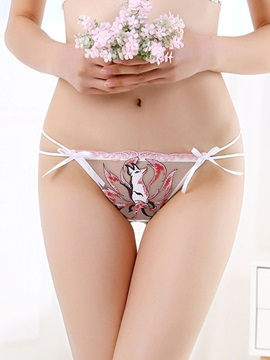 Embroidery Fox Bowknot Sexy Thong